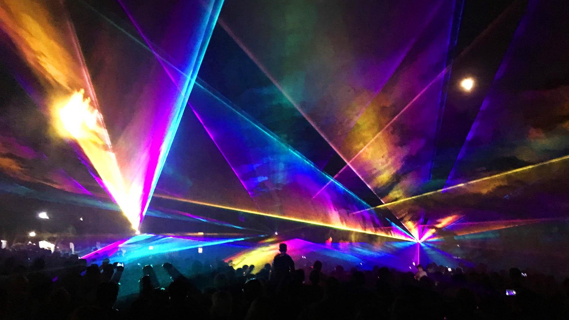 Lasershow zum 13. Hallohparkfest